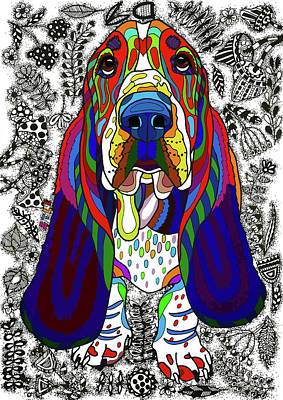 Colored Pencil Portrait Drawing - Basset Hound by ZileArt