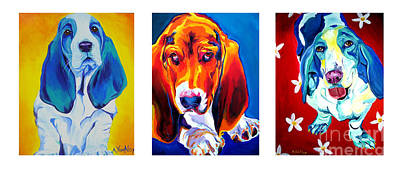 Painting - Basset Trio by Alicia VanNoy Call