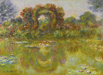 Bassin Painting - Bassin Aux Nympheas. Les Rosiers by Claude Monet
