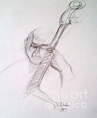 Bass Player Drawing - Bassist by Jamey Balester