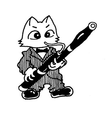 Drawing - Bassoon Cat by Minami Daminami