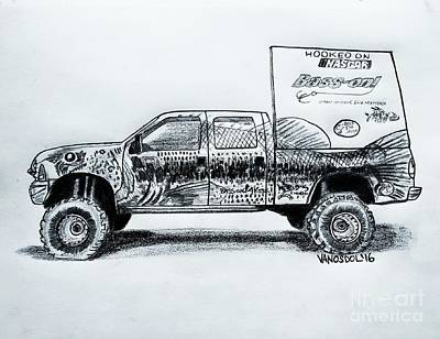 Basszilla Monster Truck - Graphite Pencil Original