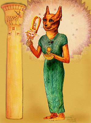 Hathor Digital Art - Bast Egyptian Cat Goddess by Lilith Marie Haas