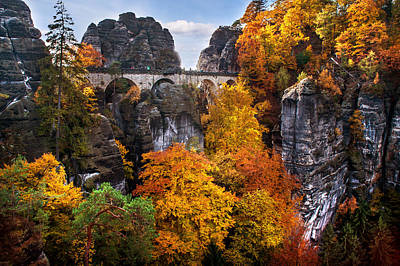 Photograph - Bastei Bridge In Autumn Time. Saxon Switzerland by Jenny Rainbow