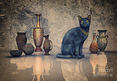 Jutta Pusl Digital Art - Bastet And Pottery by Jutta Maria Pusl