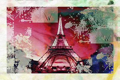 Eiffel Tower Mixed Media - Bastille Day 1 by Priscilla Huber