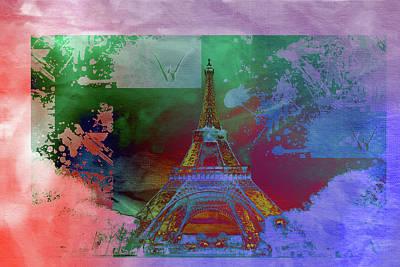 Eiffel Tower Mixed Media - Bastille Day 10 by Priscilla Huber