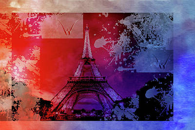 Eiffel Tower Mixed Media - Bastille Day 12 by Priscilla Huber