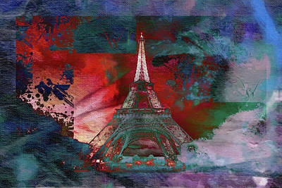 Eiffel Tower Mixed Media - Bastille Day 3 by Priscilla Huber