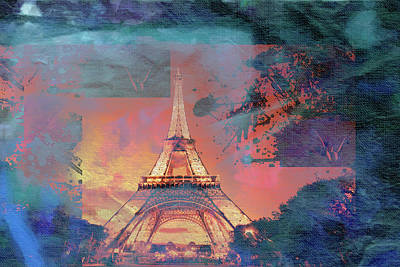 Eiffel Tower Mixed Media - Bastille Day 5 by Priscilla Huber