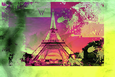 Eiffel Tower Mixed Media - Bastille Day 9 by Priscilla Huber