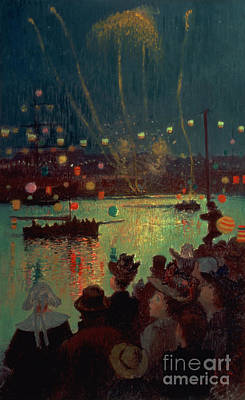 Firework Painting - Bastille Day At Lorient by Henry Moret