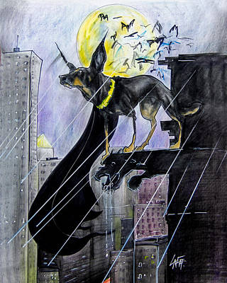 Fantasy Drawings - Bat-Dog Caricature  by John LaFree