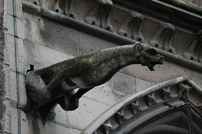 Photograph - Bat Eared Dog Gargoyle Of Notre Dame by Christopher Kirby