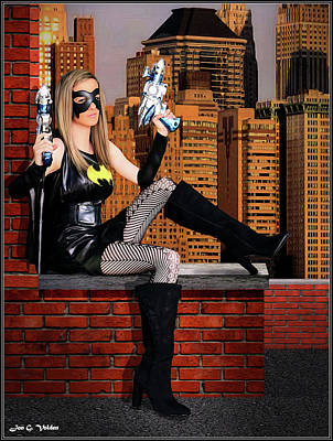 Photograph - Bat Gal With Ray Guns by Jon Volden
