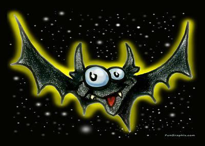 Humor Greeting Card - Bat by Kevin Middleton