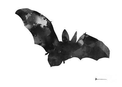 Bat Mixed Media - Bat Silhouette Art Print Watercolor Painting by Joanna Szmerdt