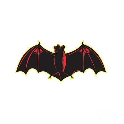 Bat Spread Wing Woodcut Art Print