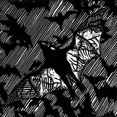 Linocut Drawing - BAT by Stuart Shadwell