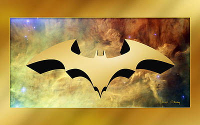 Digital Art - Bat Symbol 3 D by Chuck Staley
