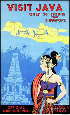 Mixed Media - Batavia Java Vintage Travel Poster Restored by Carsten Reisinger