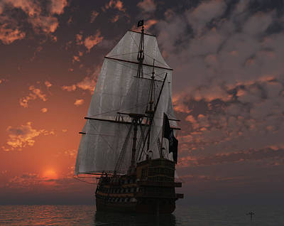 Pirate Ship Mixed Media - Bateau De Pirate by Steven Palmer