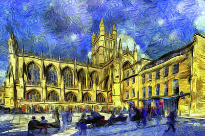 Impressionism Photos - Bath Abbey Art by David Pyatt