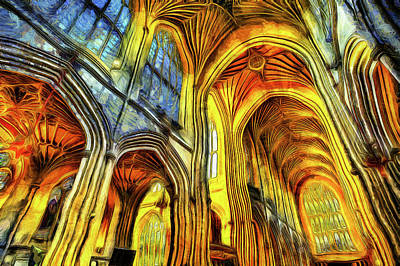 Photograph - Bath Abbey Vincent Van Gogh by David Pyatt