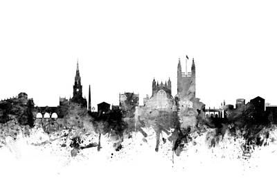 Bath England Skyline Cityscape Art Print by Michael Tompsett