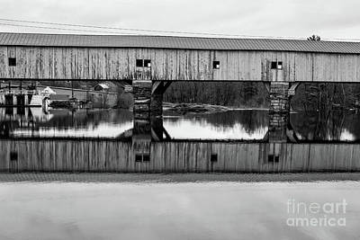 Photograph - Bath New Hampshire Covered Bridge Black And White by Edward Fielding