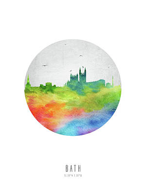 Bath Skyline Gbba20 Print by Aged Pixel