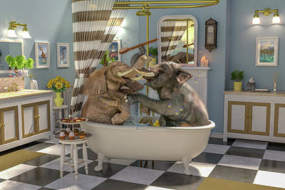 Uplifting Digital Art - Bath Time by Betsy Knapp