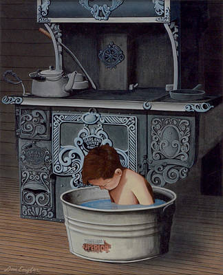Washtubs Painting - Bath Time by Don Engler