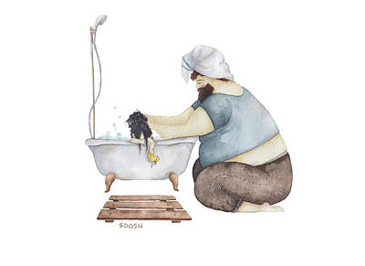 Duckling Drawing - Bath Time by Soosh