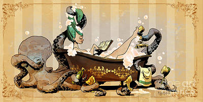 Steampunk Digital Art - Bath Time With Otto by Brian Kesinger