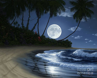 Moonlit Night Painting - Bathed In Moonlight by Al Hogue