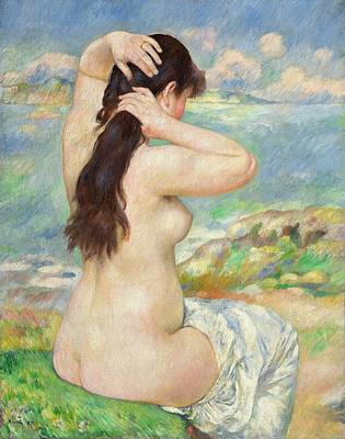 Erotica Painting - Bather Arranging Her Hair by Pierre Auguste Renoir