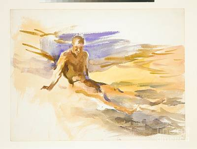 Colored Pencil Painting - Bather  Florida by MotionAge Designs