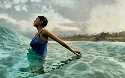 Bathing Digital Art - Bather Painted by Cynthia Decker