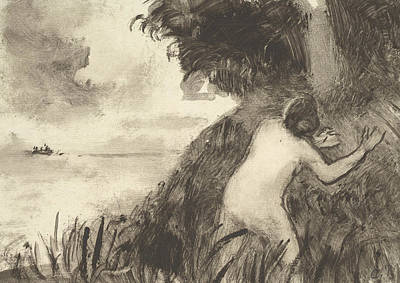 Relief - Bather Standing Among Grasses At The Shore by Camille Pissarro