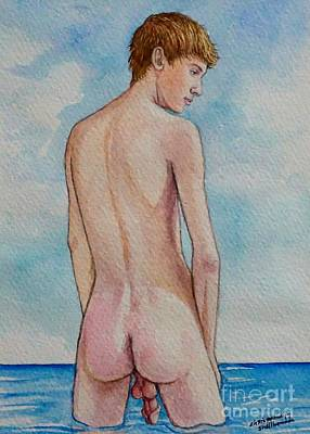 Painting - Nude Male Bather Wading In Water by Christopher Shellhammer