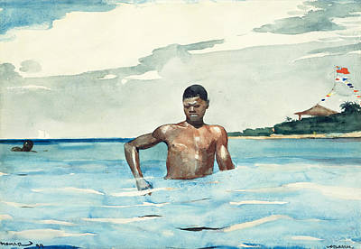Winslow Homer Drawing - Bather by Winslow Homer