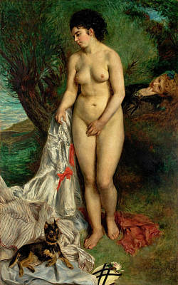 Griffon Wall Art - Painting - Bather With A Griffon Dog by Pierre-Auguste Renoir