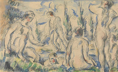 Drawing - Bathers, 1890-1892.  by Paul Cezanne