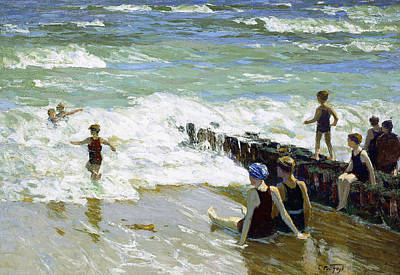 People On The Beach Painting - Bathers At Breakwater by Edward Henry Potthast