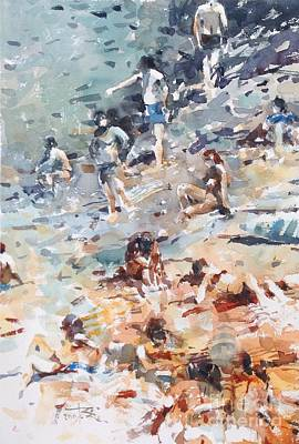 Wall Art - Painting - Bathers In Italy by Tony Belobrajdic