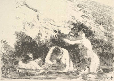 Relief - Bathers In The Shade Of Wooded Banks by Camille Pissarro