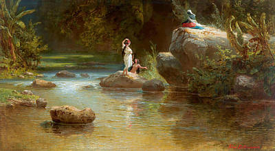 Painting - Bathers On The River by Ferdinand Bellermann