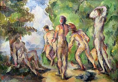 Bather Painting - Bathers by Paul Cezanne