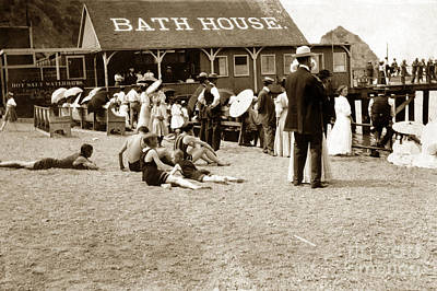 Photograph - Bathhouse And Pier And Bathers Santa Catalina Island Circa 1900 by California Views Mr Pat Hathaway Archives